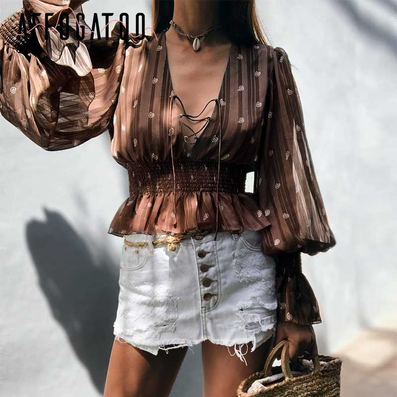Affogatoo Elegante ruches v-hals print chiffon blouse vrouwen Vintage Lace up lantaarn mouw top shirts Casual dames tops blouses