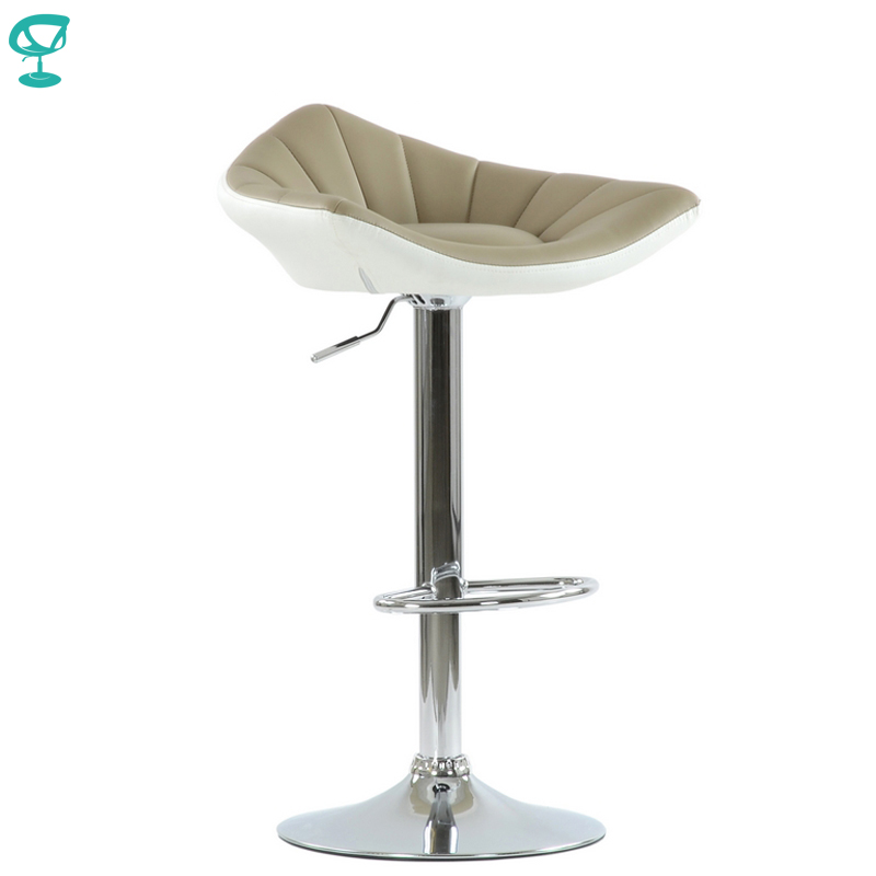 N44CrPuBrownWhite Barneo N-44 PU Leather Kitchen Breakfast Bar Stool Swivel Bar Chair Brown-White Color Free Shipping In Russia