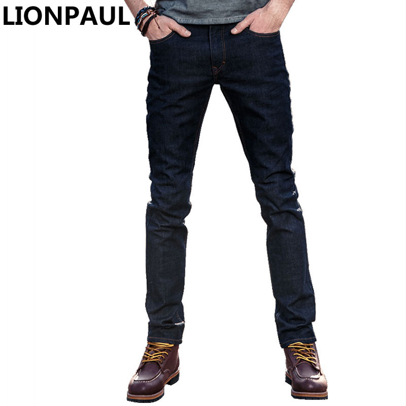 LIONPAUL Mens jeans tradition boot cut leg fit flare jeans famous brand deep blue male jeans pants ...