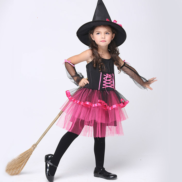 95 135Cm Little Girl Cos Dress Princess Cosplay Clothing Witch Halloween School Party -9738
