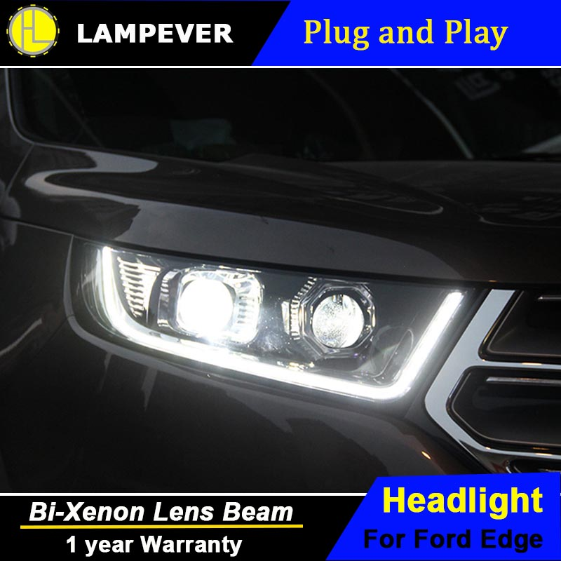 Hlc Head Lamp For Ford Edge Headlights  New Edge Led Headlight Drl Daytime Running Light Bi Xenon Hid Accessories In Car Light Assembly From