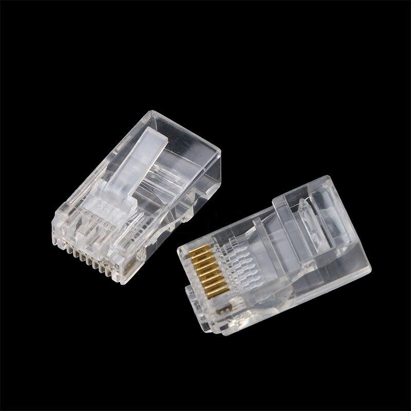 100 pcs RJ45 RJ-45 CAT5 CAT5E Cabeça Cabo Ethernet Plug Banhado A Ouro Conector de Rede Modular