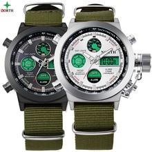 2017 Men Sports Watch LED Digital Wristwatch Analog Quartz Clock Male 30M Waterproof Nylon Outdoor Army Military Watch Sport Men