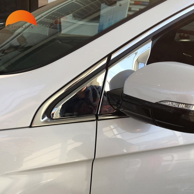 For Edge 2015 ABS Chrome Outer Side Door Mirror Window Front Triangle Cover  Trims Back Mirror