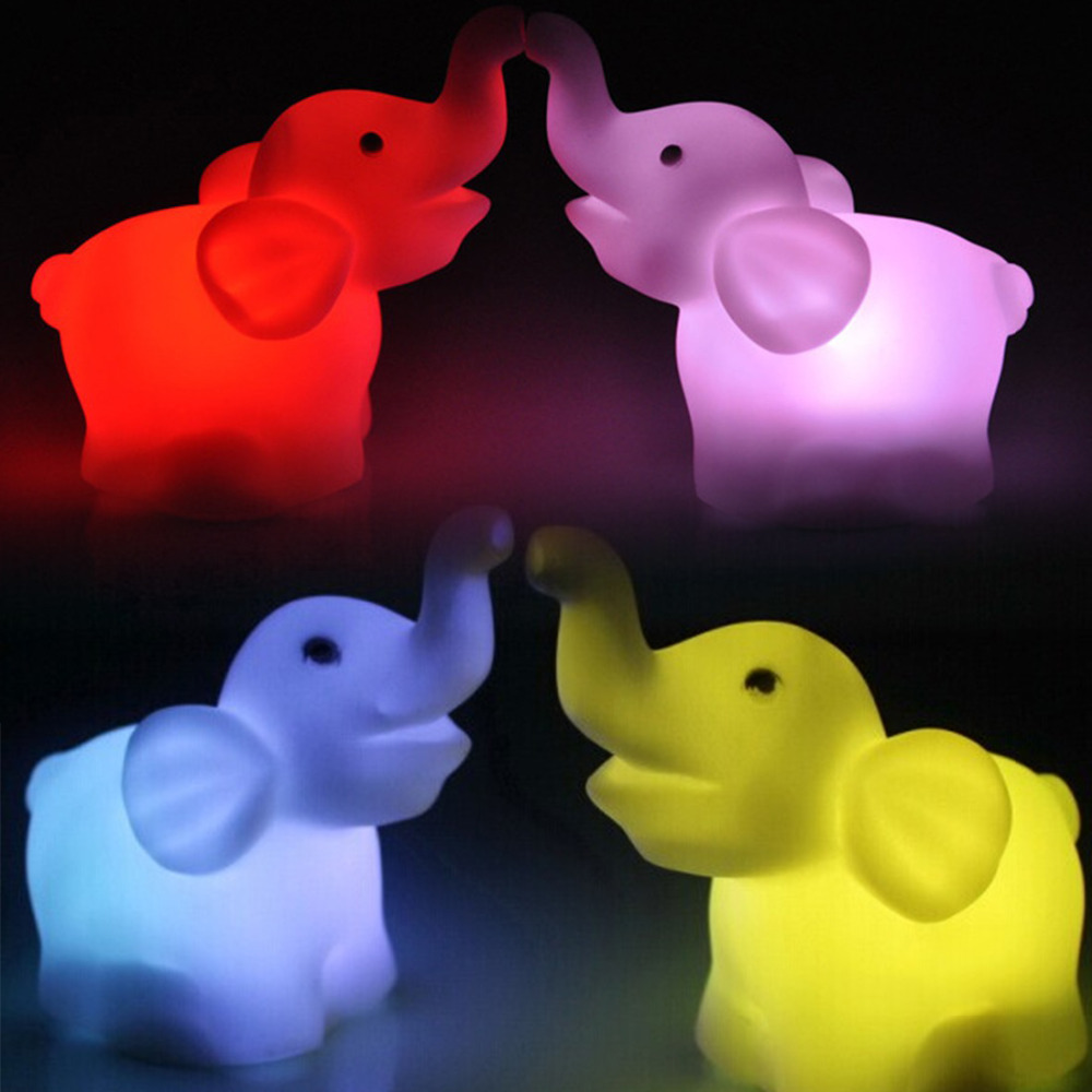 New Fashion New Cute Elephant Shape Color Changing LED Night Light Lamp Wedding Party Decor Free Shipping