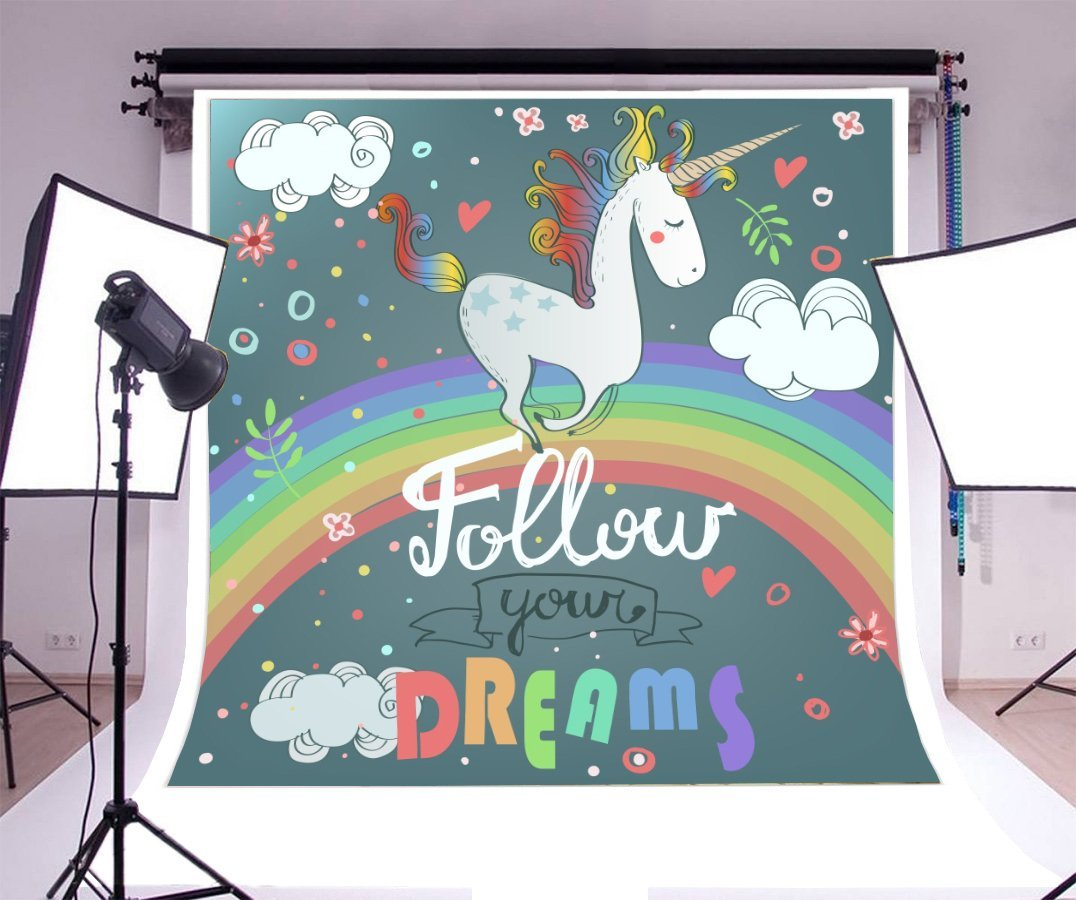 cute unicorn rainbow Clouds decor elements Baby Shower Backgrounds Vinyl cloth High quality Computer print birthday backdrops