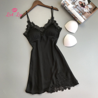 Lick Lip Summer Satin Women Nightwear Sexy Mini Dress Female Sleepwear Shoulder Spaghetti Strap Sleepshirts Ladies SWC5845 47