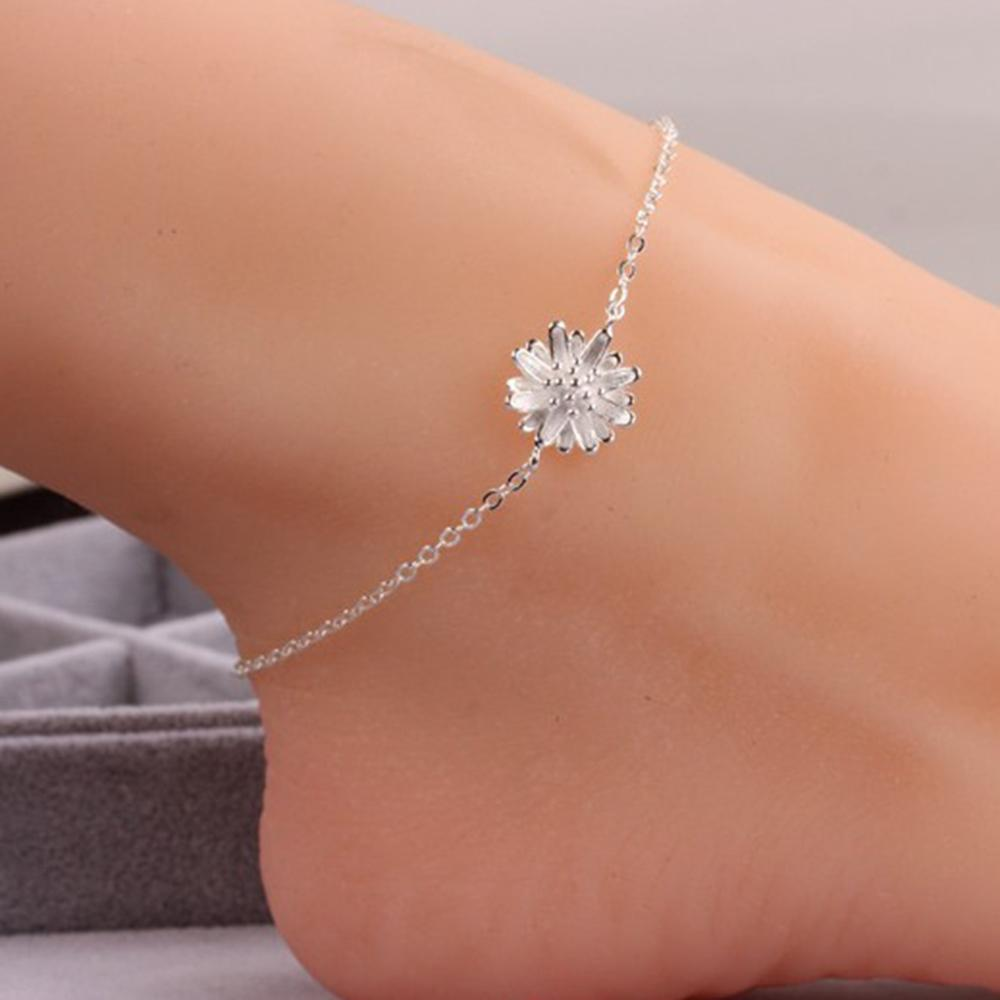 imixlot 925 Sterling Silver Elegant Sweet Daisy Anklets Female Brief Fashion Foot Chain Jewelry Birthday Gifts 2019 New