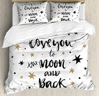 Duvet Cover Set Hand Drawn I Love You To The Moon And Back Quote Stars Valentine