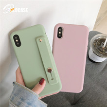 Cute Simple Candy Color Silicone Wrist Strap Hand Band Holder Soft TPU Phone Case For iPhone X XR XS MAX 7 8 6s Plus
