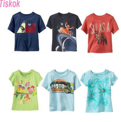 2016 tiskok new fashion kids baby girls t-shirts clothing childrens clothes 100%cotton blouse cute cartoon summer short t shirts