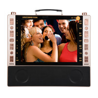 Portable bluetooth speaker FM radio 19 inch HD screen karaoke video theater machine card U disk player MP3 karaoke play audio