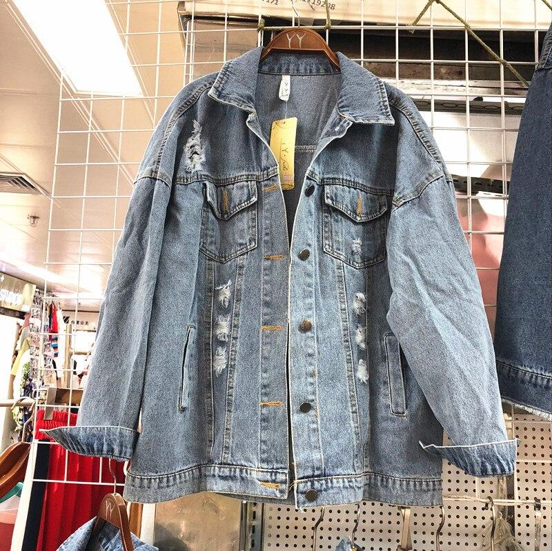Stile 2018 Europeo Perline Del Blu Autunno Giubbotti Chiodo Strappato Adesivi Donne Basic Jeans Nuovo Gatto Cappotto Di Paillettes Delle Fori YYwRrq