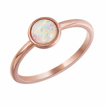 Romad Round Opal Ring Charm Moonstone Rose Gold Color Engagement for Women Wedding Fashion Finger
