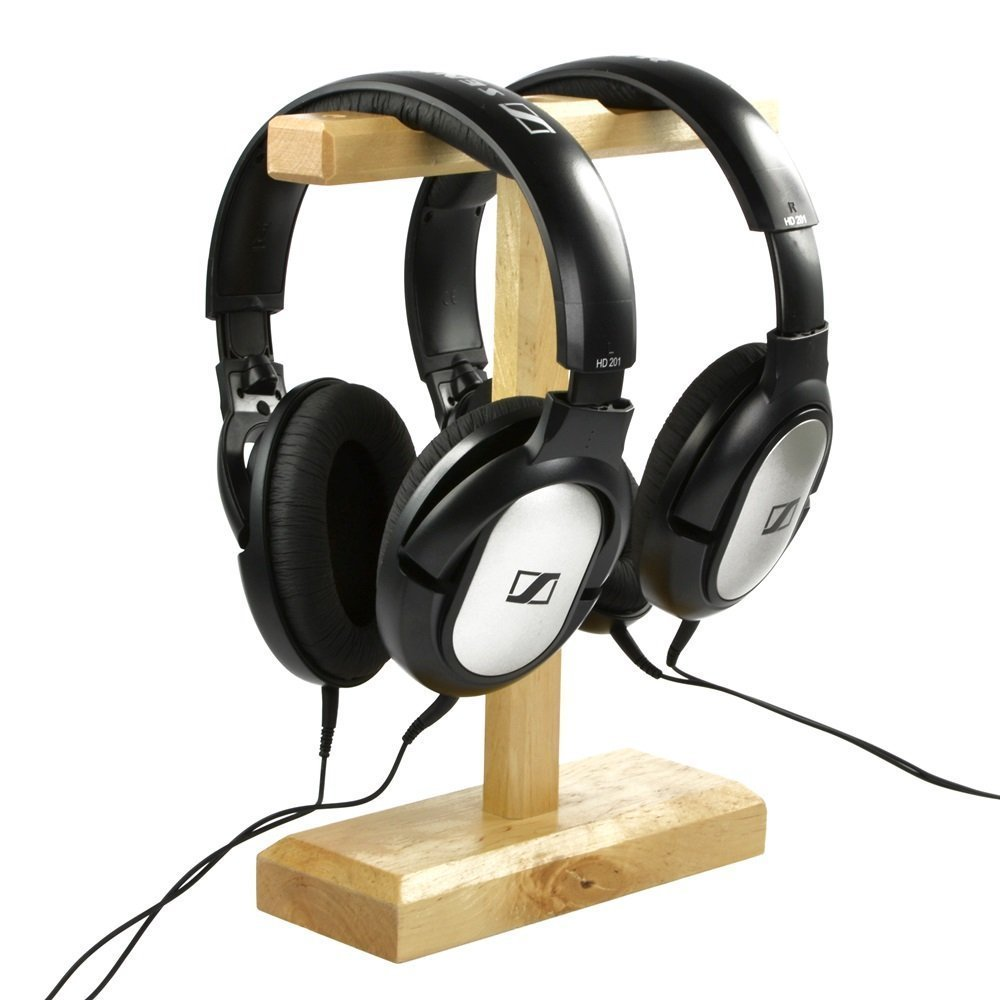 Wood Dual <font><b>Headphones</b></font> Stand holder for Bose QC15 QC25 Sony MDR-XB500 Shure Ultimate Ears Koss PortaPro <font><b>JVC</b></font> Philips Skullycandy image