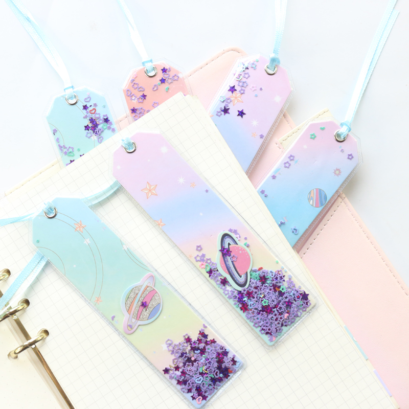 Domikee cute kawaii Korea creative glitter Sequins stars office school index bookmarks for note books stationery supplies image