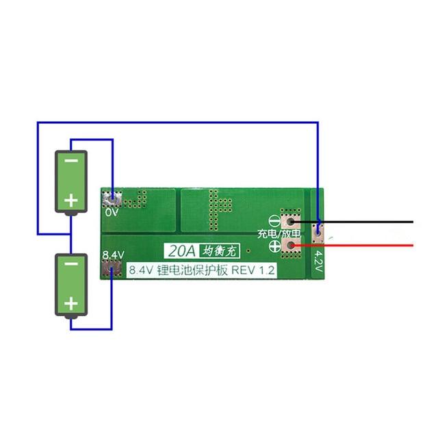 2S 20A  7.4V 8.4V  18650 Lithium battery protection board/BMS board standard/balance 4