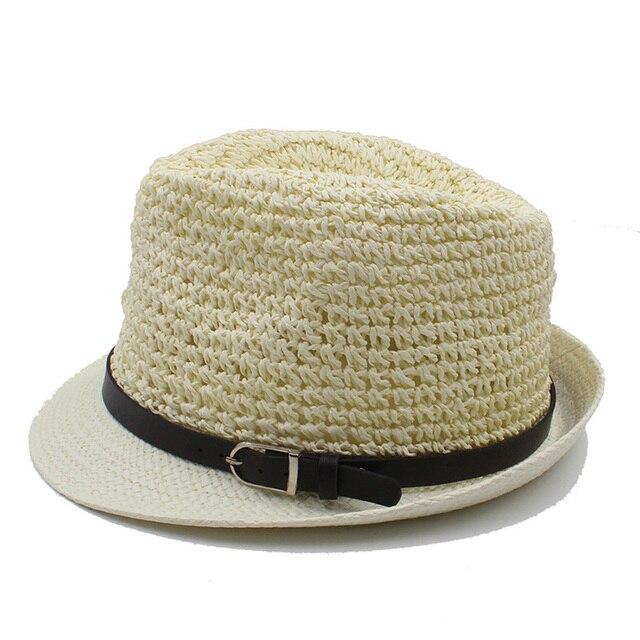 c873a59306bfe6 100% Handwok Summer Women Men Raffia Beach Sun Hat For Elegant Lady Boater  Fedora Cap Gentleman Dad Seaside Panama Hat