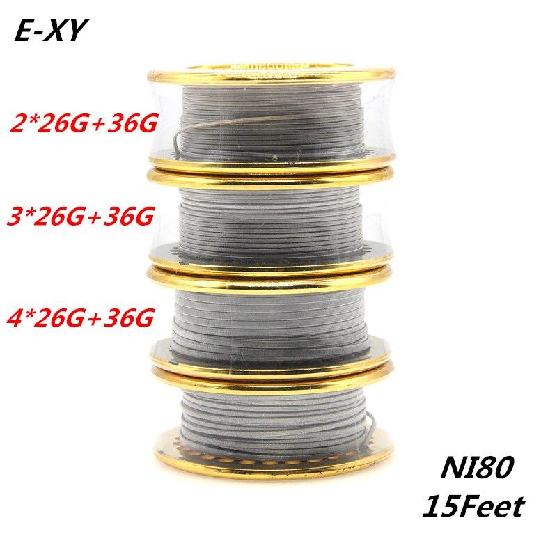 E-XY Hot 5 mt/rolle NI80 Verschmolzen Clapton Heizdraht Doppel/Tri/Vier Kern Holt Zerstäuber Heizung drähte für RDA RBA DYI Spule