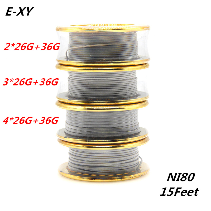 E-XY Hot 5m/roll NI80 Fused Clapton Heating Wire Double/Tri/Four Core Rebuildable Atomizer Heating Wires for RDA RBA DYI Coil