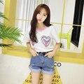 Harajuku Coreano Ocasional do Verão Das Mulheres T-Shirt Da Sereia do Bordado Coração Pêssego Colar de Manga Curta Tee Top