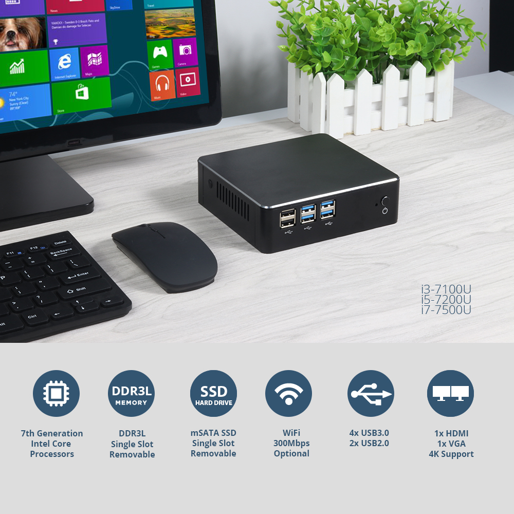 Image 3 - Mini PC Windows 10 Intel Core i7 7500U i5 7200U i3 7100U Intel HD Graphics 620 HDMI VGA 4K 300M WiFi Gigabit Ethernet-in Mini PC from Computer & Office