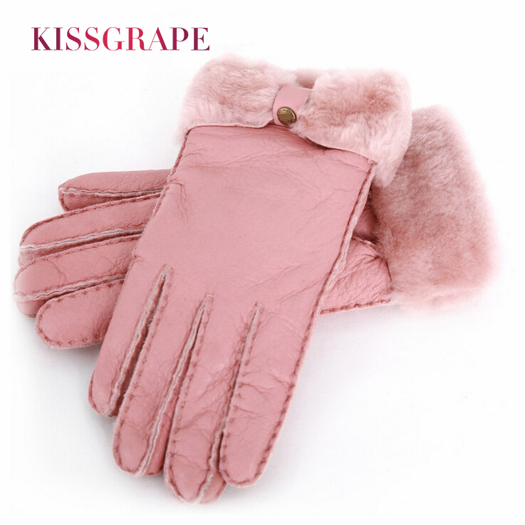 Brand Russian Winter Women Warm Fashion Gloves Female Genuine Leather Mittens 100% Sheepskin Fur Wool Thick Gloves For Ladies
