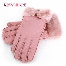 Brand New Winter Warm Fashion Gloves Women Genuine Leather Mittens 100% Sheepskin Fur Wool Outdoor Thicken