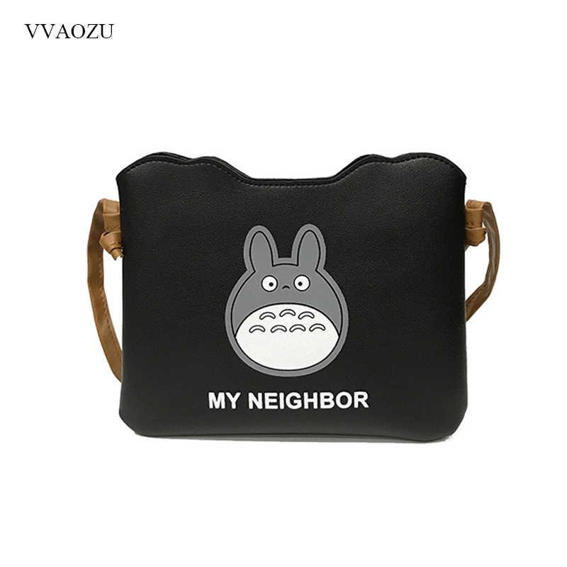 23447963e2 My Neighbor Totoro Cartoon Women Handbag Messenger Bag Female PU Leather  Shoulder Bag Clutches Black