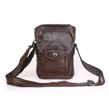 Fashion Men's Vintage Genuine Leather Messenger Bags Casual Men Male Cowhide Shoulder Crossbody Mini Bags Coffee #MD-J7354