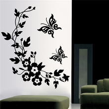 new butterfly flower vine bathroom wall decals art home decoration stickers for toilet removable diy vinyl