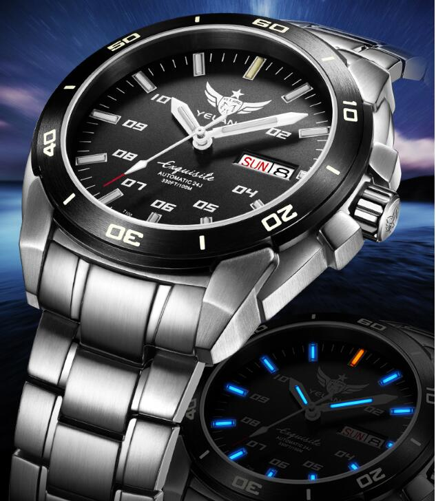New Yelang Military watch Tritium Ligth T100 Automatic Japan TOP 24Jewels Movement Waterproof 100m Date Day