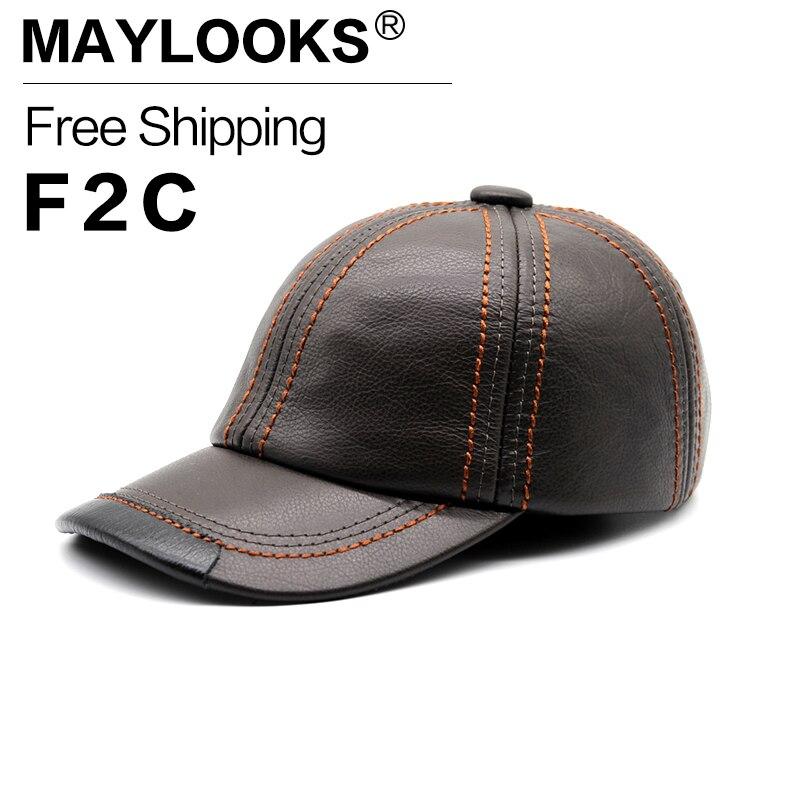 ФОТО Real Leather Caps Solid Deluxe Baseball Cap Brand New Men's Black Summer Golf Sport Hats Bone Hip Hop Women's Gorras CS66