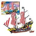 QWZ 870 unids Piratas Negro Perla Battle Ship 3D Construcción Montado Ladrillos Bloques de Construcción de Juguetes Educativos Para Niños de Regalo Conjunto