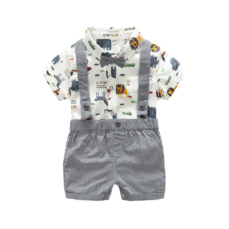 New Born Clothing Baby Boy Girl Animal Short Sleeve T-Shirt Tops+Grey Plaid Short Pants Outfit Casual Outfit Kids Rompers Sets 1