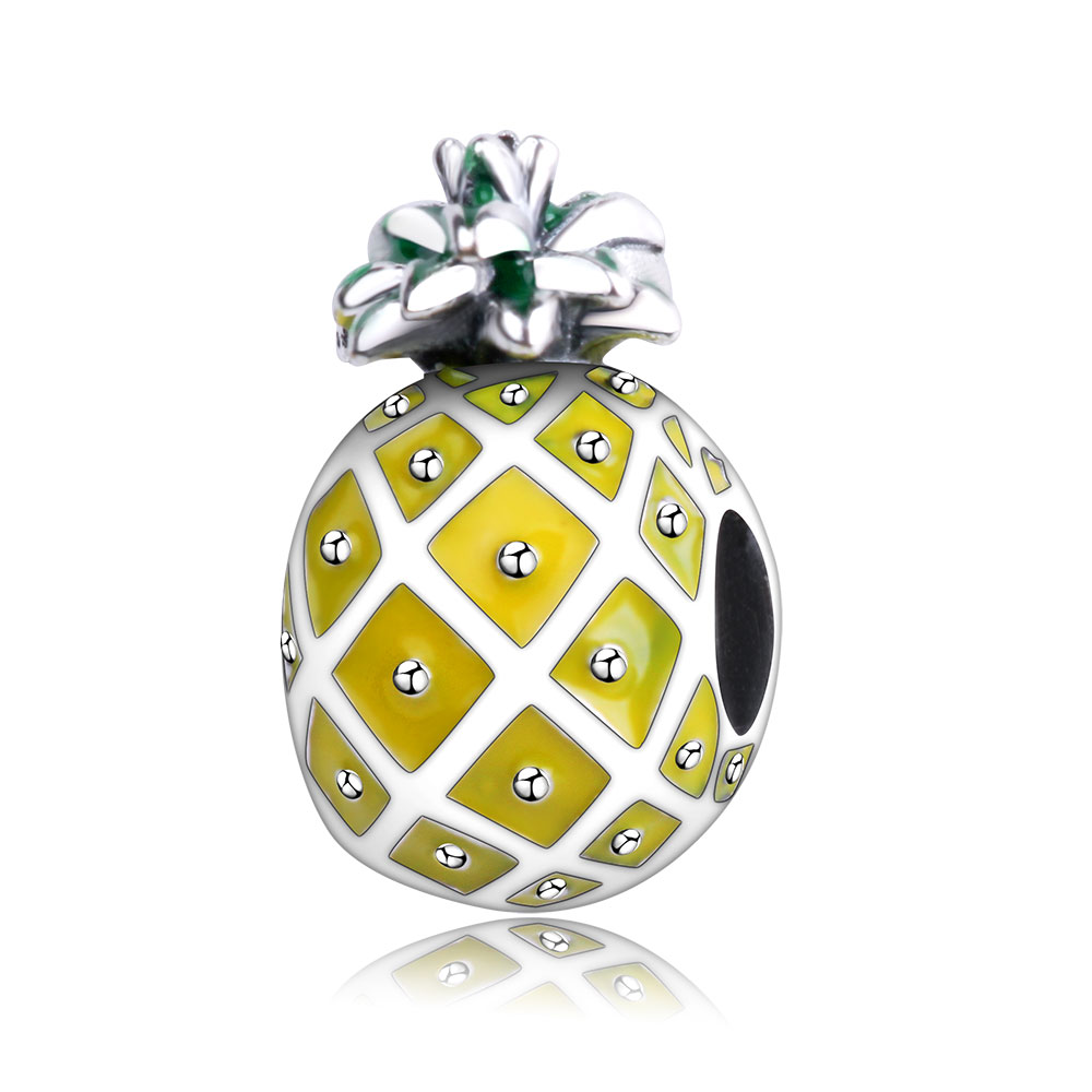 Fit Original pandora Charm Bracelet Pendant Jewelry 925 Sterling Silver Radiant Pineapple Charm Bead Gift DIY Berloque Hot Sale