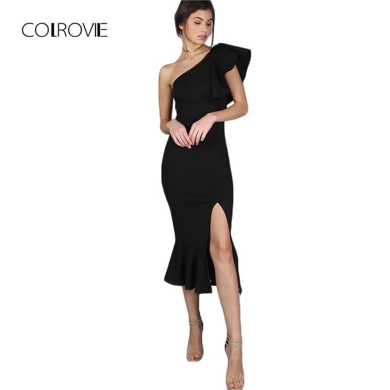 496bffcb2 COLROVIE Black Party Dress Women One Shoulder Frill Peplum Hem Sexy Elegant  Summer Dresses Slim Ruffle