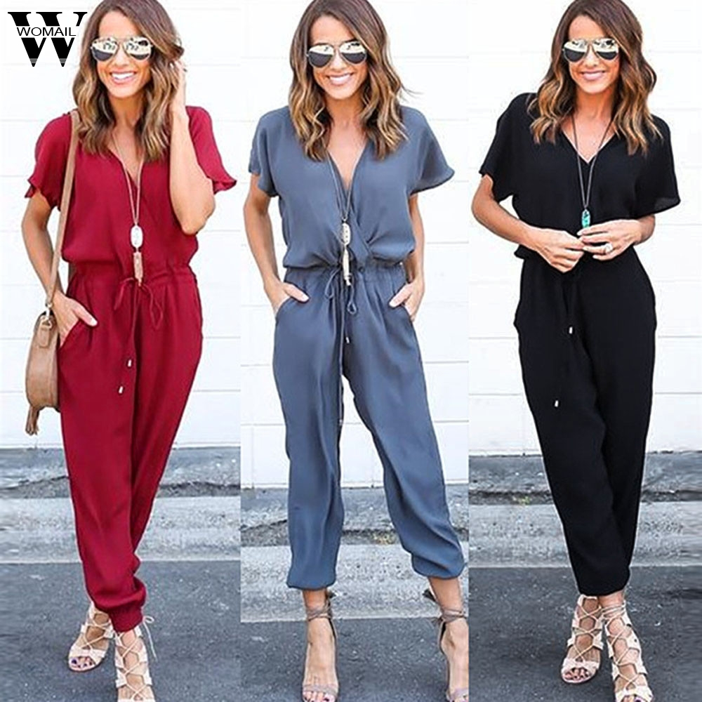 Womail Bodysuit Women Summer Casual Chiffon Short Sleeve Clubwear Playsuit Bodycon Party Jumpsuit Romper Fashion2019  M1