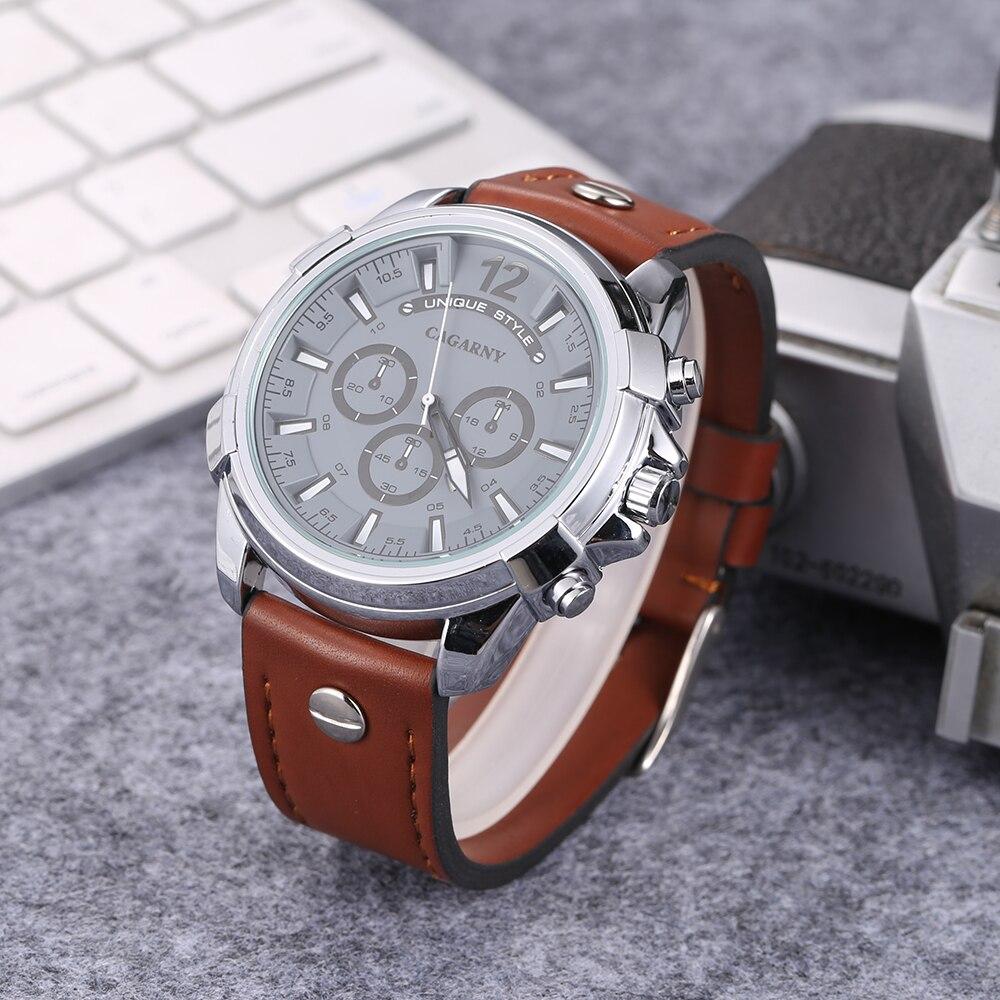 5.2cm Big Case Analog Quartz Watch Men Waterproof Leather Strap Mens Watches Luxury Brand Cagarny Military DZ Relogios Masculino