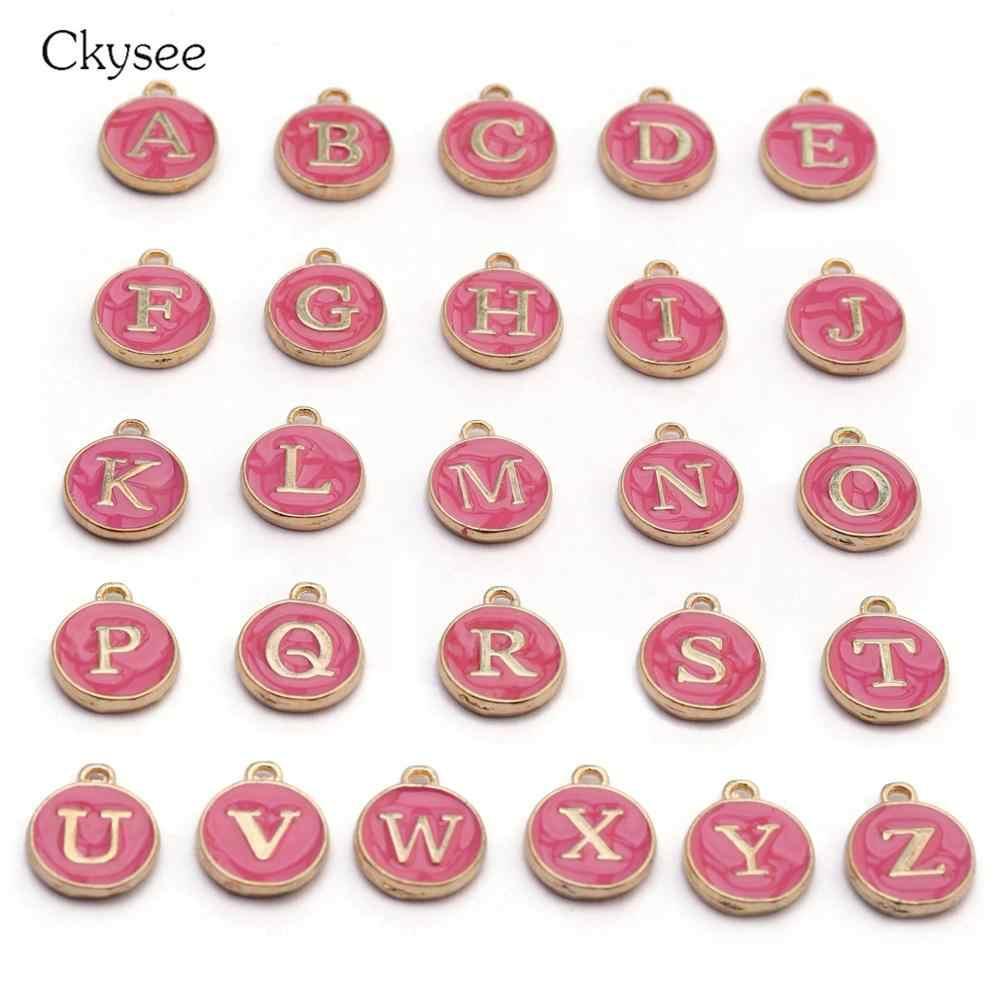 Ckysee 10 ピース/ロット 12*14 ミリメートルブラック、ホワイト、ピンクアルファベット頭文字チャーム手作りペンダント Diy のブレスレットジュエリーメイキング