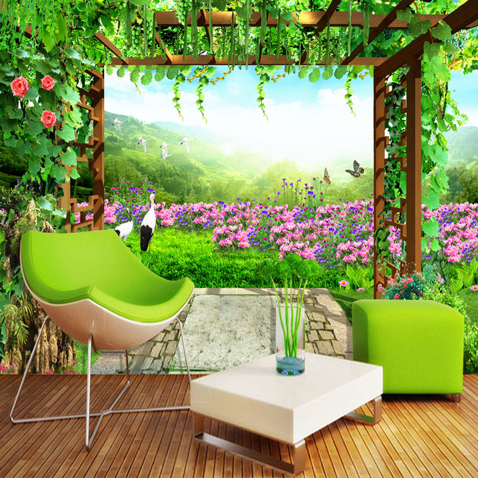 Us 8 92 48 Off Nature Landscape Green Grape Vine Flowers Erfly Photo Mural Living Room Bedroom Wall Decor Non Woven Customize Wallpaper In