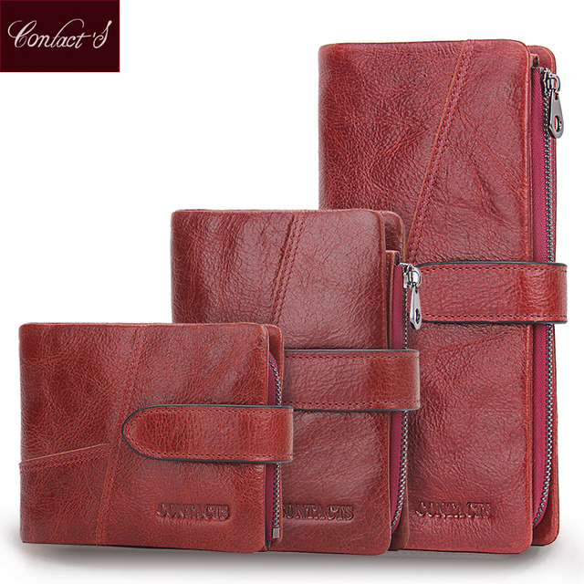 b4a18578467b Contact s 2018 Genuine Leather Women Wallet 9 Style Long Purse Vintage  Solid Cowhide Cards Holder Hand