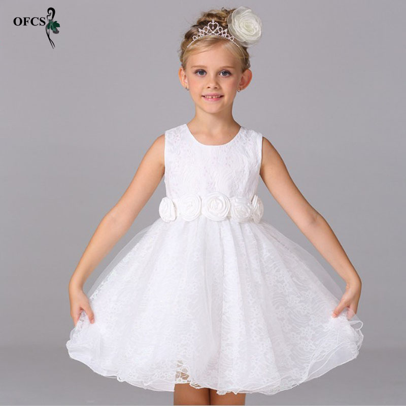 OFCS Brand New Flower Girl Dresses White Real Party Pageant Communion Dress Little Girls Kids Children Dress Wedding 3-12 Year brand new flower girl dresses white blue real party pageant communion dress little girls kids children dress for wedding
