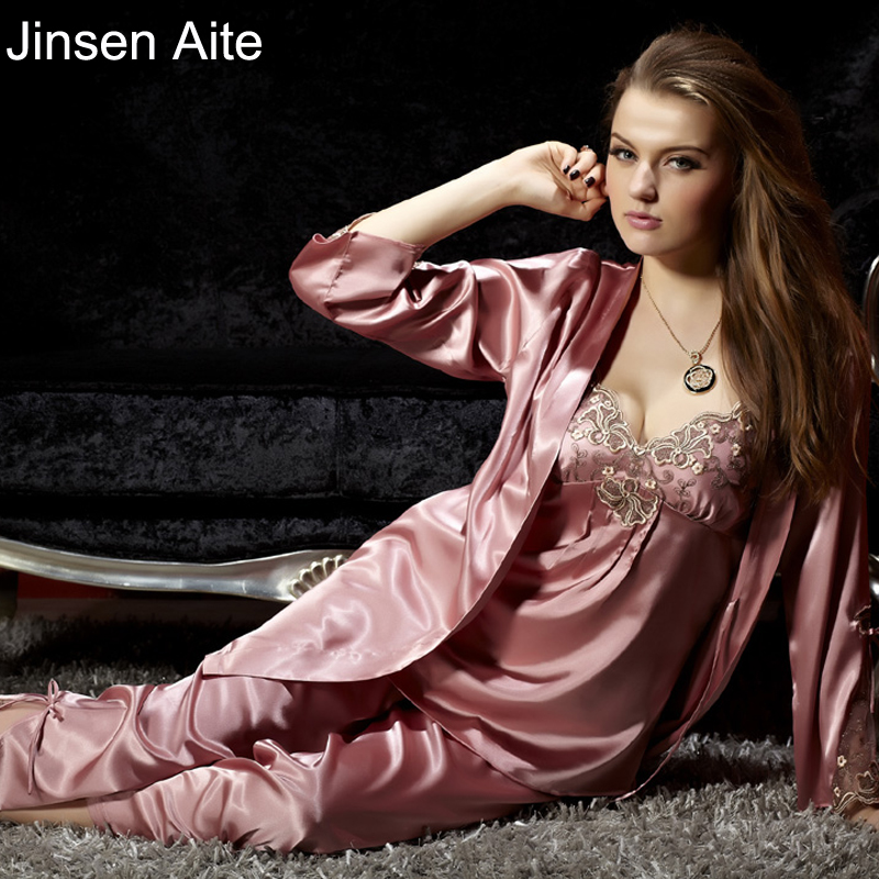 Jinsen Aite alta calidad Primavera Verano lindo mujeres seda satén 3 piezas ropa de dormir Sexy grande más tamaño pijama traje de dormir conjuntos de JS567