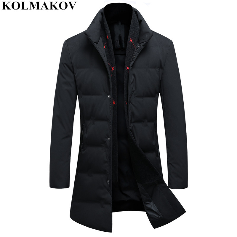 KOLMAKOV 2018 New 85% Duck   Down   Jackets Men's Classic Casual Winer   Coats   with Detachable Scarf Mens Warm Thicken Jackets M-3XL