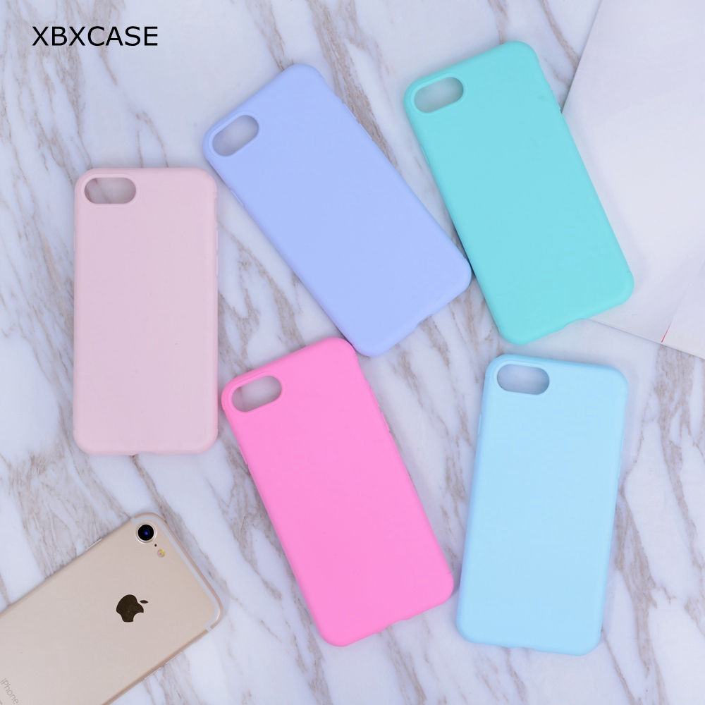 XBXCase Candy Color Case för iPhone 7 6 6S 8 Plus Anti Knock Mjuk TPU Silikon Skal till iPhone 11 Pro 11Pro Max X XS Max XR