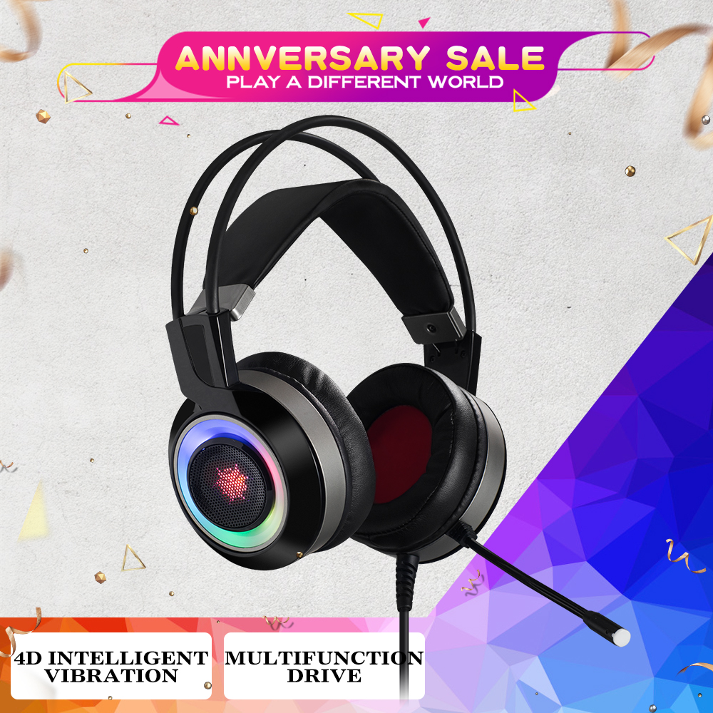 HEXGEARS Headset Gamer 7.1 Stereo RGB Light Shock Feedback USB PC Phone Gaming Headphone with Mic Earphone Bass Auriculares image