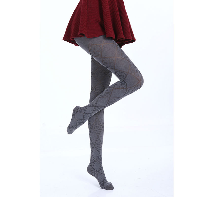 Hot Spring Autumn Tights 280 Denier Not Opaque Plaid Pattern Jacquard Velvet Pantyhose Sexy and High