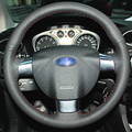 Hand-stitched Black Leather Car Steering Wheel Cover for Ford Focus 2 Focus 3 Focus RS