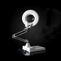 220 В 20 X светодио дный 56 светодиодной подсветкой Лампа увеличительное стекло Desktop нержавеющая сталь Стенд Лупа с подсветкой для чтения рабоч